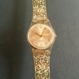 80s pink jelly swatch with see through back